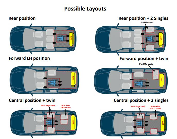 Layouts can be tailored to suit your specific needs. The most common layout is to remove the original rear third row, allowing space for the wheelchair.