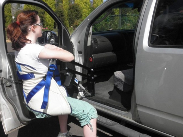 The IBIS™ Portable Car Access Lifter system has been designed and manufactured in Australia by Para Mobility to allow a disabled person to be seated in the front passenger seat of most cars, 4WD vehicles and the side entry of vans and caravans.