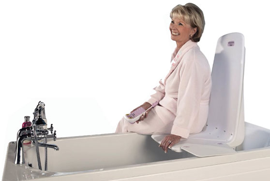 Archimedes Lift - Safety Bathing Aids - If you need more back support, the Archimedes is the perfect solution. Lower and raise yourself in and out of the bath on the reassuring and comfortable fixed position seat using the battery powered hand control.