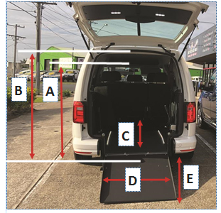 VW Caddy Tripod Kit - Dimensions