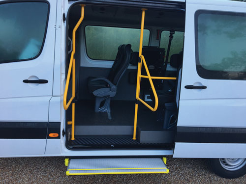Fold out safety hand rails are included - Mercedes Sprinter Van Fit Out