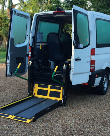 The Mercedes Sprinter now  incorporates the capacity to carry 2 wheel chairs. The rear lift is a Braun vertical fold type